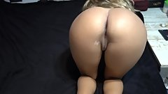 Our first porn video! doggy, footjob, CUM over my latin gf's big ass