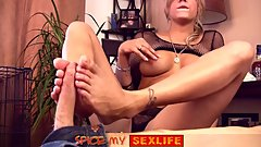 Hot Babe in Fishnet does Footjob & Bloodjob