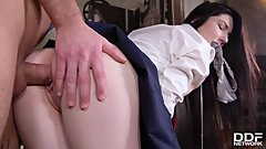 Hungarian schoolgirl Mia Evans swallows tutor's big fat cock before fucking