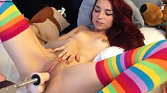 Teen Haley420 - fuck machine with double penetration