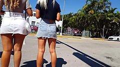 Candid voyeur crew of hotties in skirts and shorts blondes