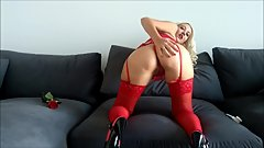 Fisted my asshole at friends house, red lingerie Helena Moeller