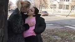 Brunette in Black Puffy Jacket Lesbian Sex