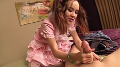 Stepsisters frilly dress gives her step-brother a boner. TabooHandjobs.com