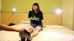 pretty chinese student so little ankle socks and feet tickling