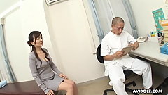 Kinky doctor drills hairy Japanese babe after a regular chec