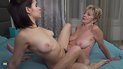 Old hairy granny fucks young hairy girl