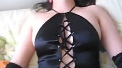 orgasm in black satin lingerie